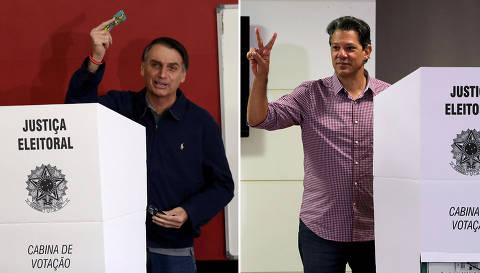Ibope mostra Bolsonaro com 57% dos votos válidos e Haddad, 43%, no 2º turno