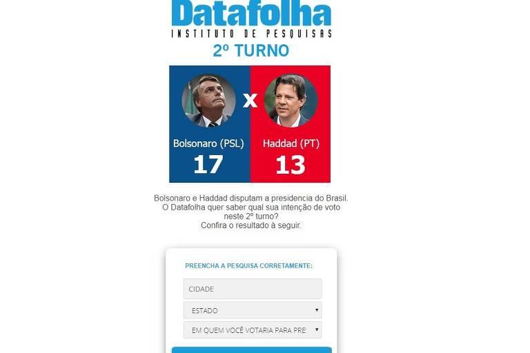 Site falso mostra logo do Datafolha e pede para pessoa preencher suposto formulário de pesquisa eleitoral