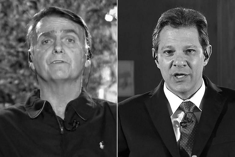 Os presidenciáveis Jair Bolsonaro (PSL) e Fernando Haddad (PT) durante entrevista ao Jornal Nacional