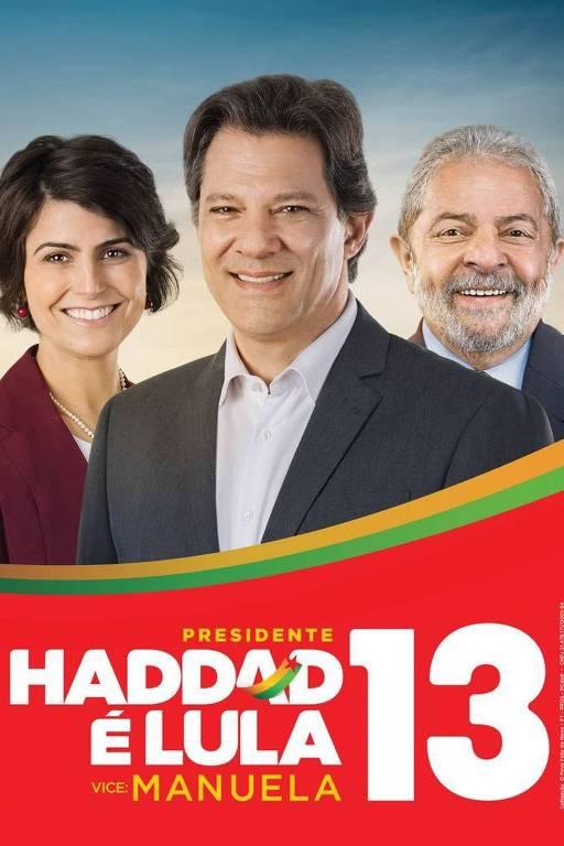 Material de campanha de Fernando Haddad (PT) no primeiro turno trazia o ex-presidente Lula e cor vermelha em destaque
