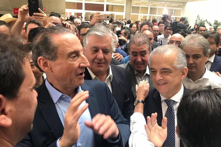 Skaf e Márcio França em visita com aliados ao Sesi de Suzano, na grande São Paulo