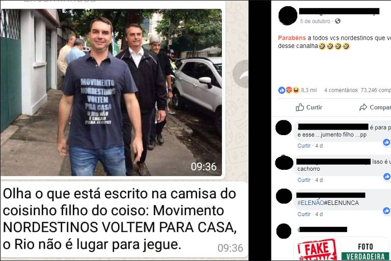 Comprova: Inscrição xenofóbica sobre nordestinos em camiseta de filho de Bolsonaro é falsa