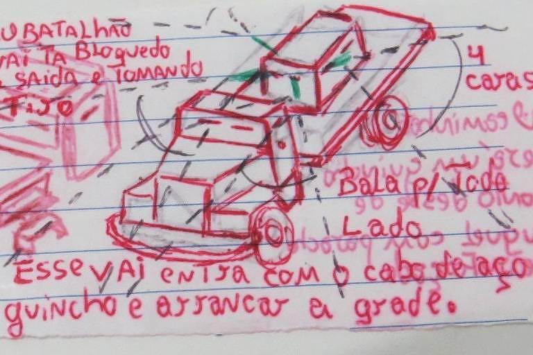 desenho de caminhão blindado que PCC pretendia usar para derrubar muro de prisão e resgate chefões do bando