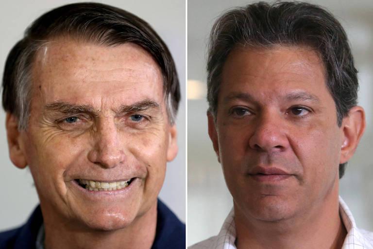 Fotos de Jair Bolsonaro e Fernando Haddad, rivais na disputa do segundo turno para a Presidência