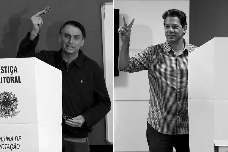Os candidatos Jair Bolsonaro (PSL) e Fernando Haddad (PT) durante a votação no domingo (7)