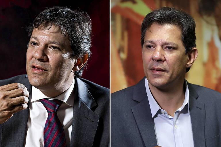 Montagem mostra o antes e depois do visual do presidenciável Fernando Haddad (PT)