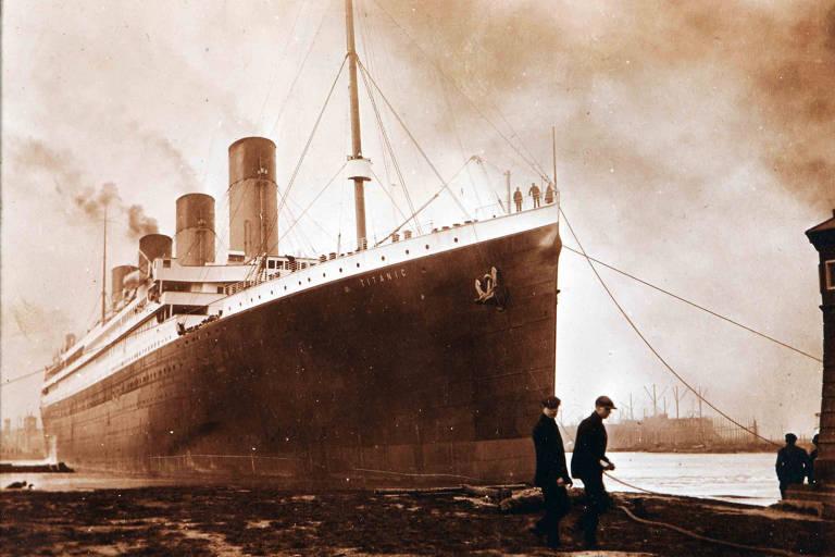 O Titanic em foto do museu de Belfast, na Irlanda