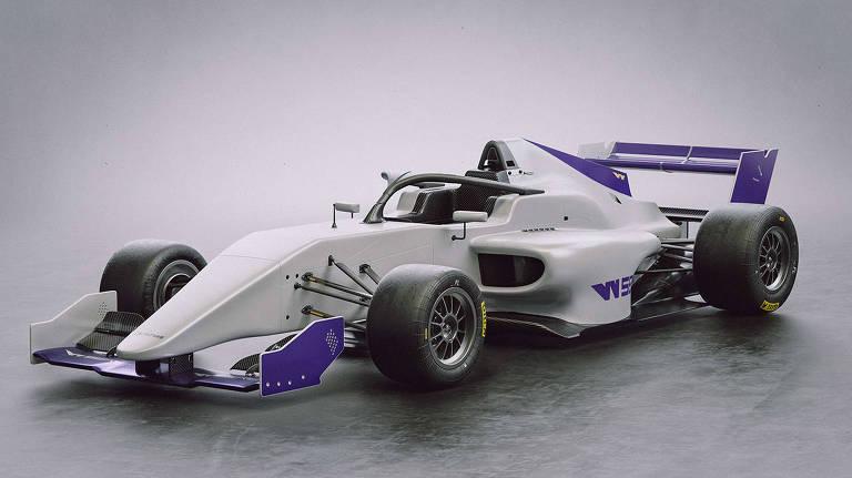 Protótipo de como será o carro da W Series, categoria de automobilismo só para mulheres
