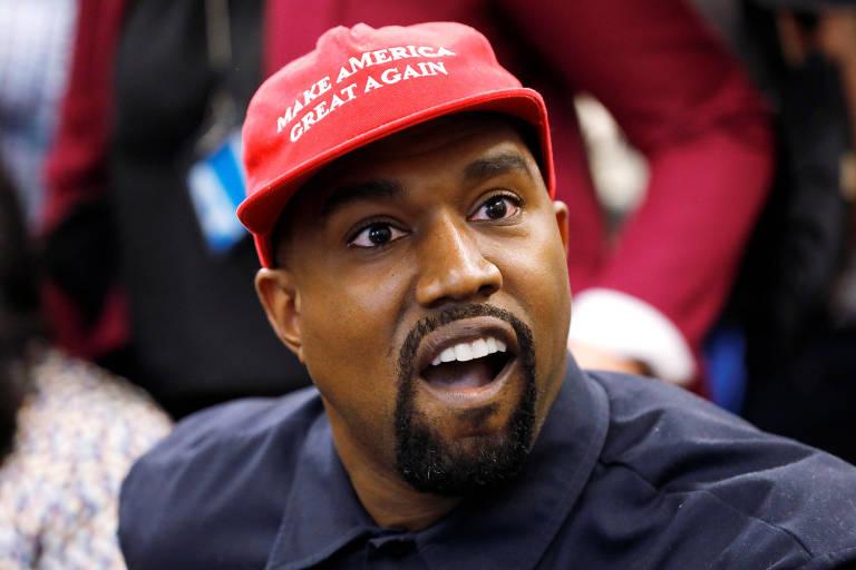Kanye West durante encontro com o presidente Donald Trump na Casa Branca