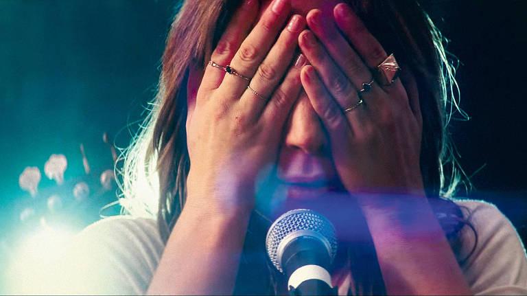 Lady Gaga durante cena do filme