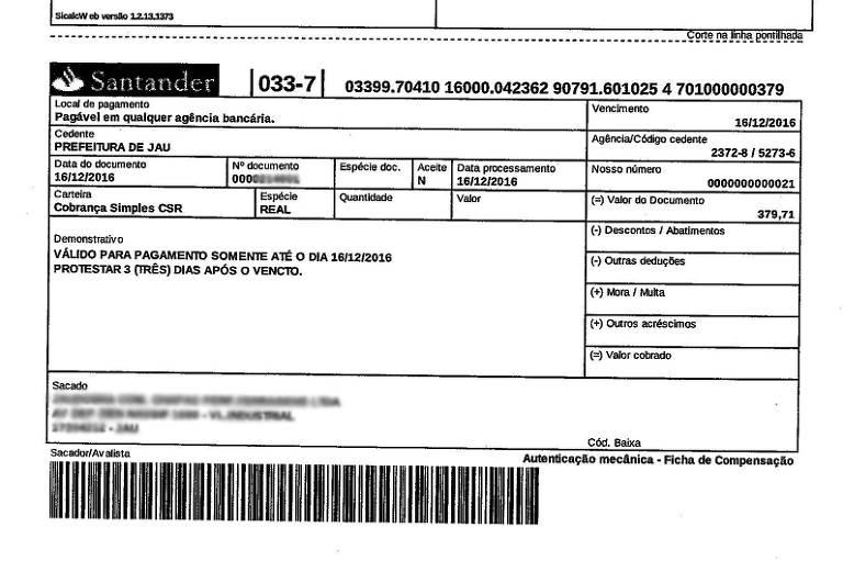 Exemplo de conta do Santander fraudada; cidadãos devem ficar atentos a cobranças inesperadas