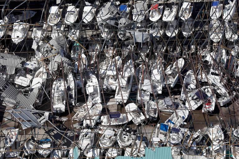 Rastro de destruição deixado pelo furacão Michael no estado da Flórida