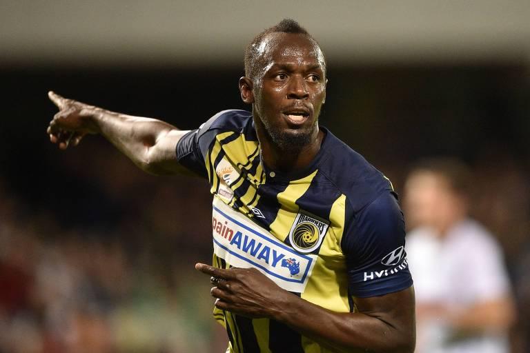 Usain Bolt fez dois gols em vitória de seu time na Austrália