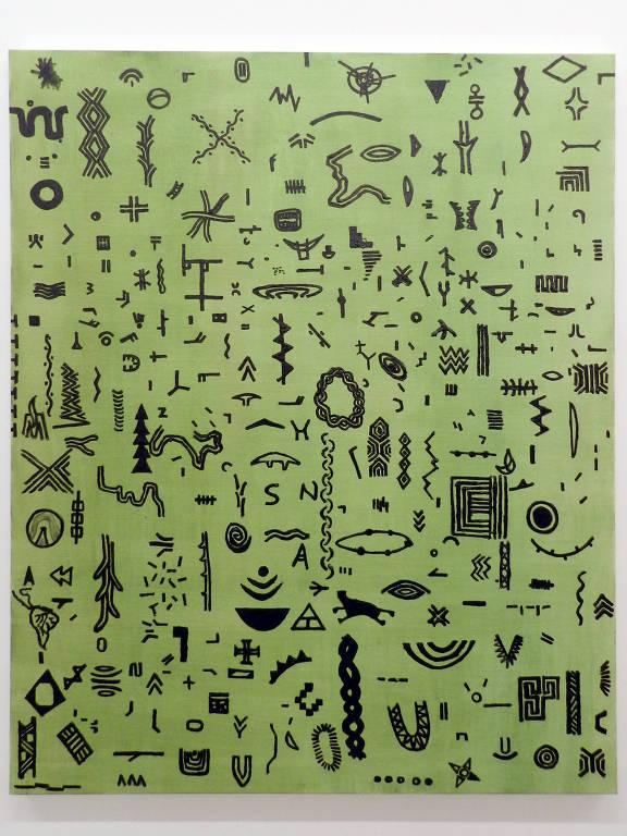 obra de arte verde com símbolos pretos
