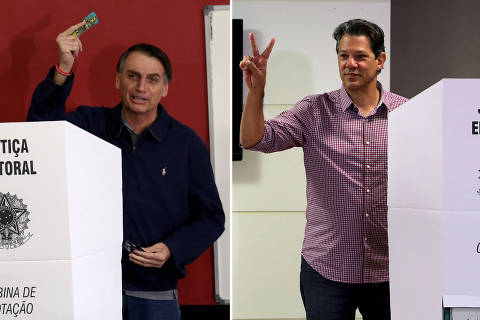 FILE PHOTO: A combination of file photos shows Jair Bolsonaro, far-right lawmaker and presidential candidate of the Social Liberal Party (PSL), casts his vote in Rio de Janeiro, Brazil October 7, 2018 and Fernando Haddad, presidential candidate of Brazil's leftist Workers' Party (PT), gestures as he casts his vote, in Sao Paulo, Brazil October 7, 2018. Pictures taken October 7, 2018. REUTERS/Ricardo Moraes/Paulo Whitaker/File Photo ORG XMIT: FW1