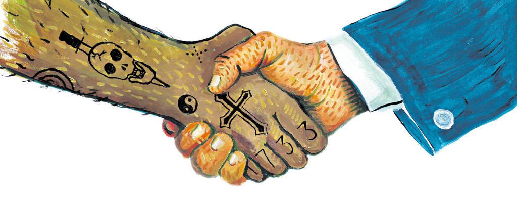 mãos de criminoso e empresário se apertam