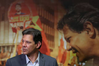 Fernando Haddad, presidential candidate of Brazil's leftist Workers' Party (PT), attends an interview with foreign journalists in Sao Paulo