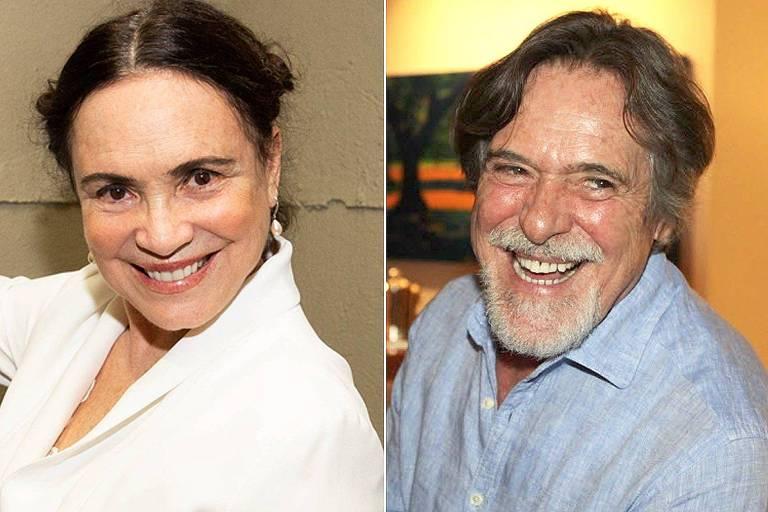 Os atores Regina Duarte e José de Abreu