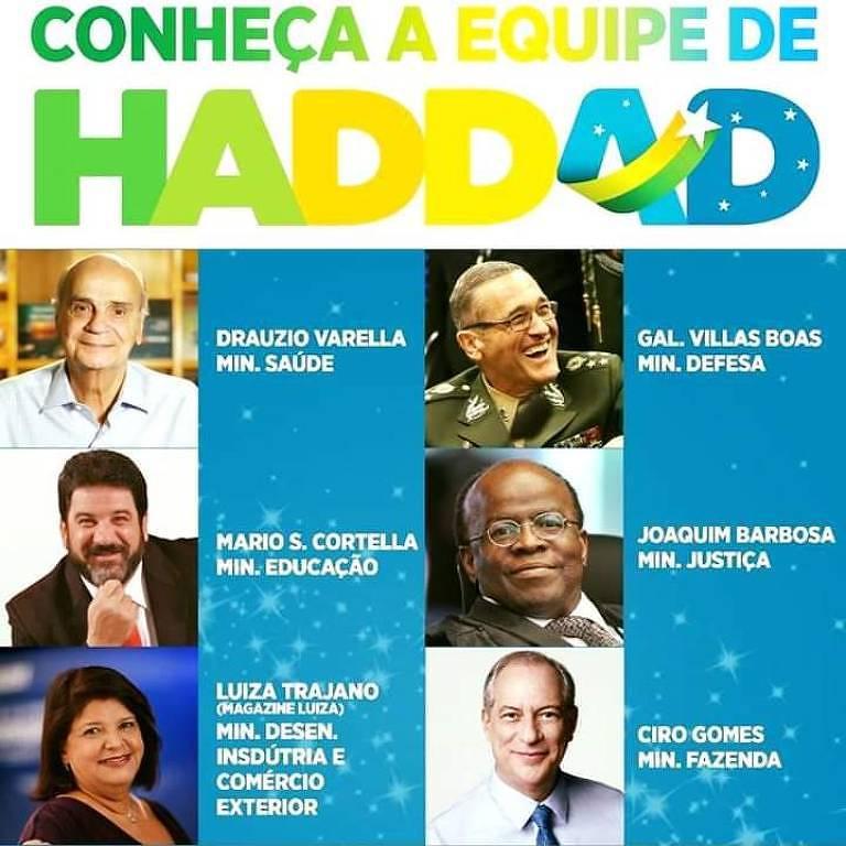 Imagem que circula redes sociais com eventual ministério de Haddad é falsa