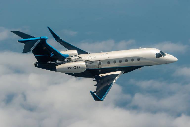 O jato executivo grande Praetor 600, uma dos destaques do portfólio da Embraer
