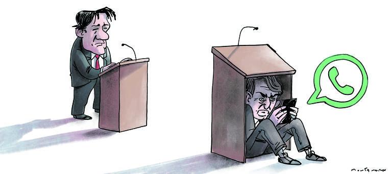 ilustração mostra os candidatos Jair Bolsonaro e Fernando Haddad em debate; Bolsonaro está escondido no púlpito, enviando mensagens no celular