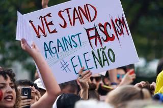 Women protest against far-right Brazilian presidential candidate Jair Bolsonaro