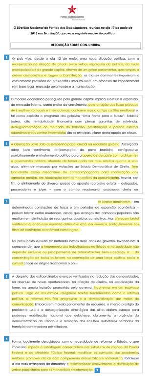 Documento do PT sobre processo de impeachment faz autocrítica partidária