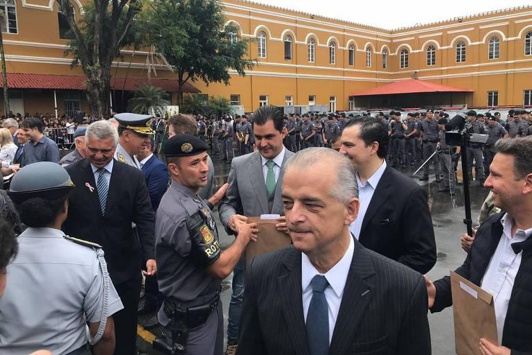 Governador e candidato à reeleição por São Paulo, Márcio França na cerimônia de aniversário de 48 anos da Rota