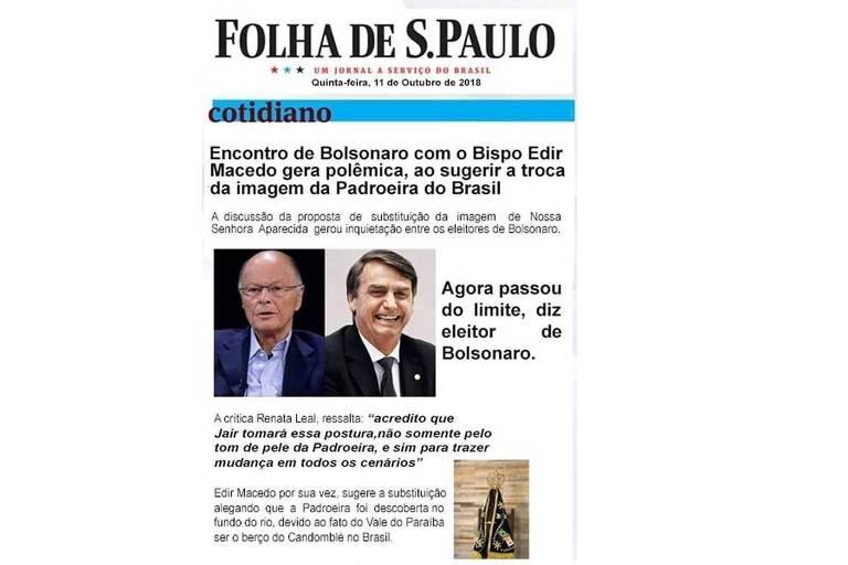 """Imagem mostra suposta notícia da Folha com o título """"Encontro de Bolsonaro com bispo Edir Macedo gera polêmica, ao sugerir troca de imagem da padroeira do Brasil"""""""