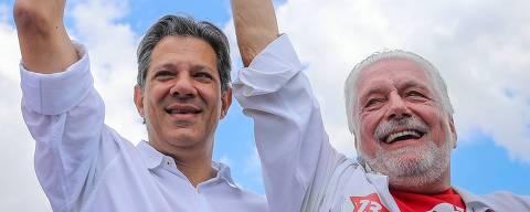 Fernando Haddad, candidato de Lula, visita Feira de Santana, na Bahia, com Rui Costa governador e Jaques Wagner senador neste sábado (6/10).   Foto: Ricardo Stuckert