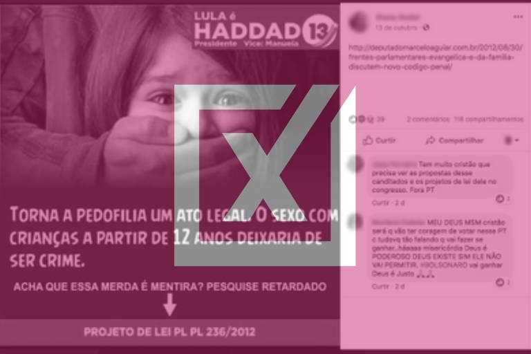 Comprova: É falsa informação de cartaz que diz que Haddad vai legalizar pedofilia
