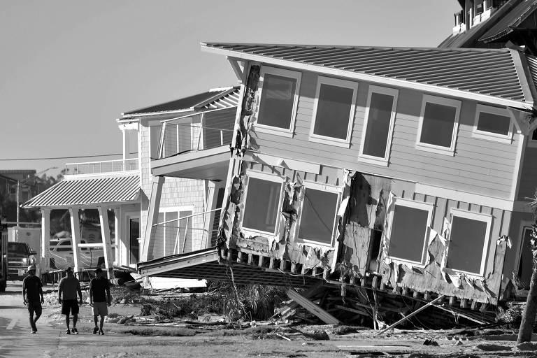 Casa destruída em Mexico Beach, na Flórida (EUA), após a passagem do fucarão Michael