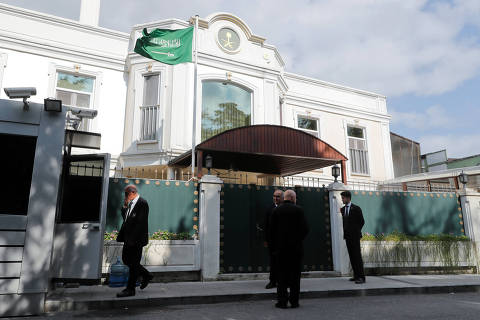 Security officers are seen in front of the residence of Consul General of Saudi Arabia Mohammad al-Otaibi in Istanbul, Turkey October 16, 2018. REUTERS/Osman Orsal ORG XMIT: ZUZ001