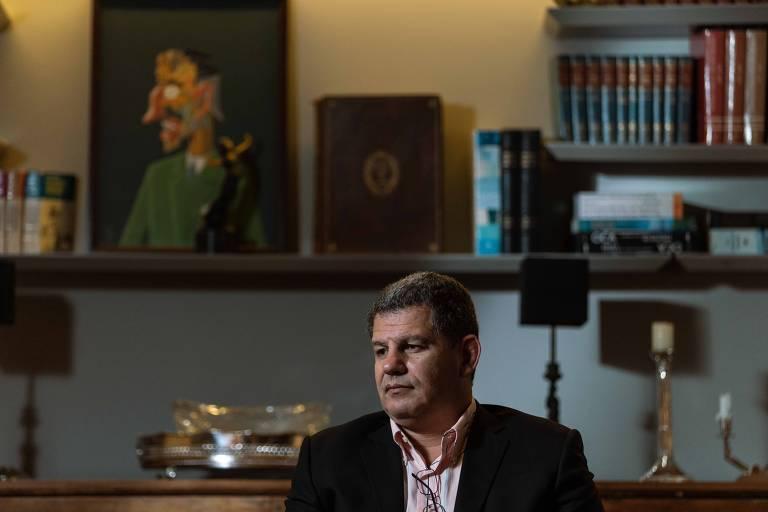O presidente do PSL, Gustavo Bebianno, durante entrevista à Folha no Rio