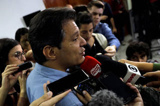 Fernando Haddad, presidential candidate of Brazil's leftist Workers' Party (PT), attends a news conference in Sao Paulo