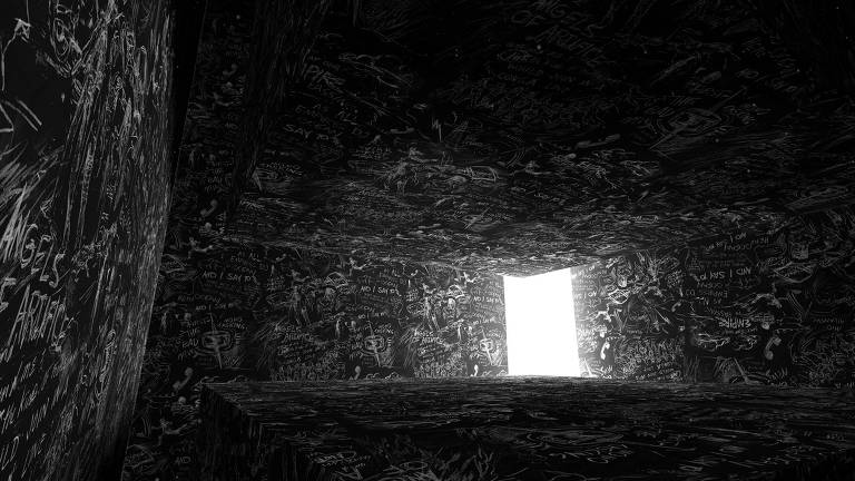 Obra, em realidade virtual, 'Chalkroom' em exibição na 42ª Mostra