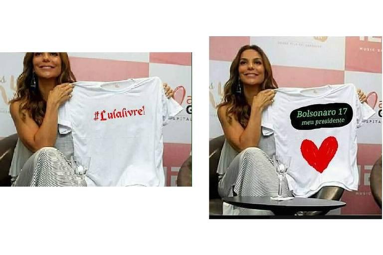 Imagens de Ivete Sangalo com camiseta pró-Lula e pró-Bolsonaro são falsas