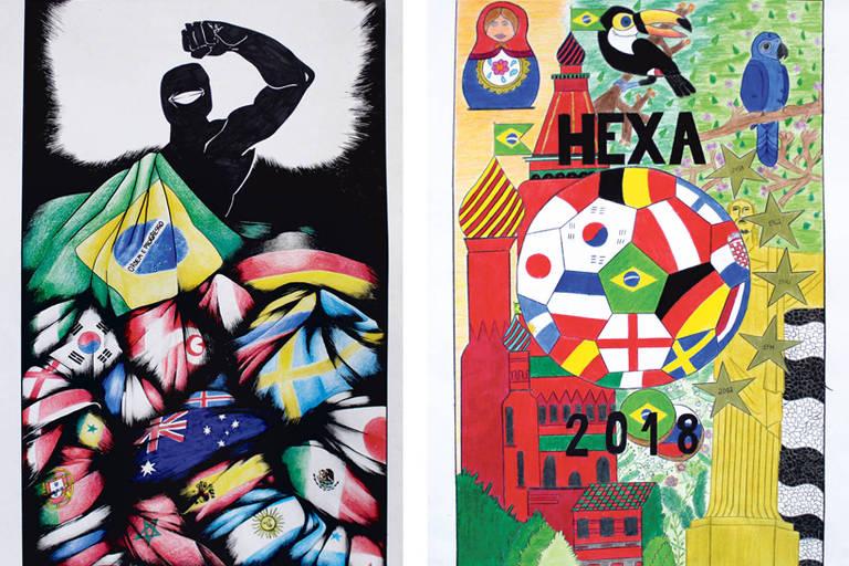 Desenhos sobre a Copa do Mundo, de Kamilly França de Almeida, do 9º ano, e Julia Letícia Barbosa, do ensino médio, vencedoras do concurso do CPP (Centro do Professorado Paulista)
