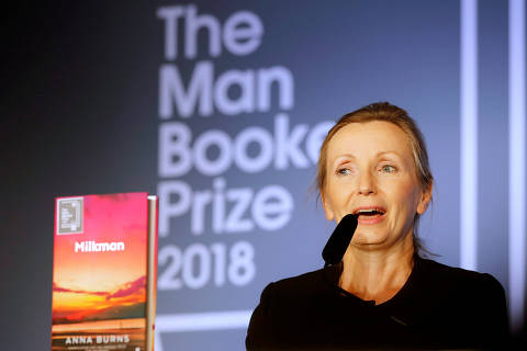 Writer Anna Burns delivers a speech after she was presented with the Man Booker Prize for Fiction 2018 by Britain's Camilla, the Duchess of Cornwall during the prize's 50th year at the Guildhall in London, Britain, October 16, 2018. Frank Augstein/Pool via REUTERS ORG XMIT: LON209
