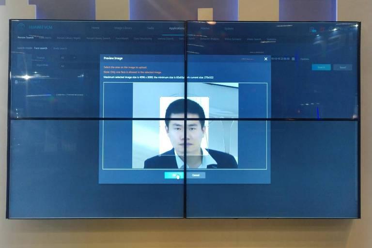 Demonstração da tecnologia de reconhecimento facial da Huawei em São Paulo; empresa quer expandir uso no Brasil