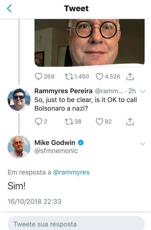 Criador da Lei de Godwin diz que é ok chamar Bolsonaro de nazista