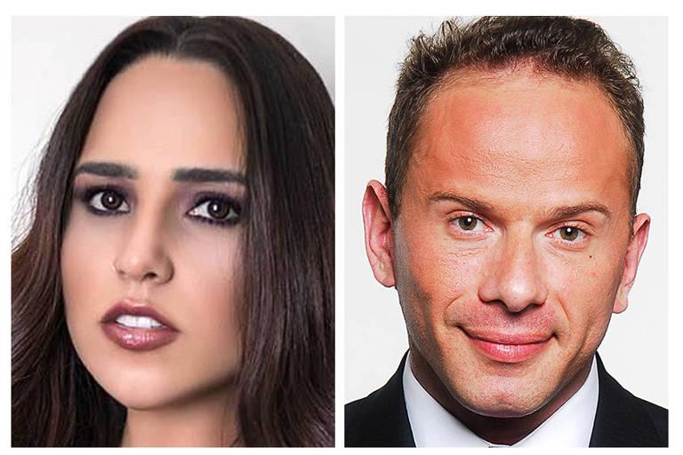 montagem com o rosto de Perlla e Rafael