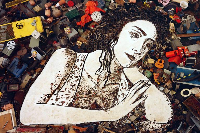 Imagem de Cristiane Machado, que foi transformada na obra de arte Melancolia, de Vik Muniz, usada na abertura de Passione