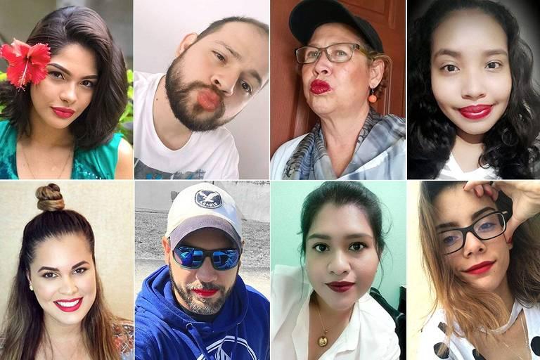 Nicaraguenses usam batom vermelho em protesto nas redes sociais, acompanhado da hashtag #YoSoyPicoRojo (eu sou boca vermelha)