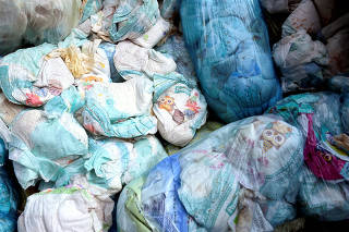 Used diapers are seen in a diaper recycling facility facility in Spresiano near Treviso