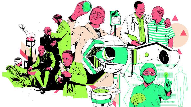 Passagens mostram médicos em várias atividades: analisando exames, falando com pacientes, e até operando uma máquina futurista