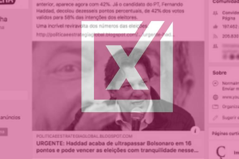 Projeto Comprova: É falsa pesquisa que mostra Haddad em primeiro, com 58%, e Bolsonaro em segundo, com 42%