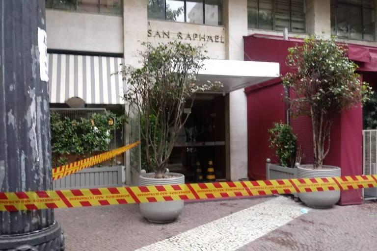 Fachada do hotel San Raphael, no Arouche, onde travesti foi socorrida após esfaqueamento