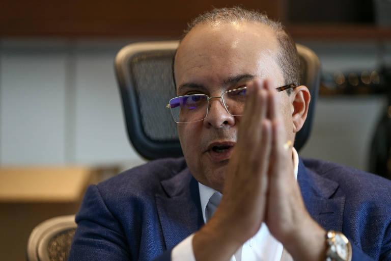 O candidato ao governo do DF Ibaneis Rocha (MDB)  durante entrevista à Folha, em sua casa