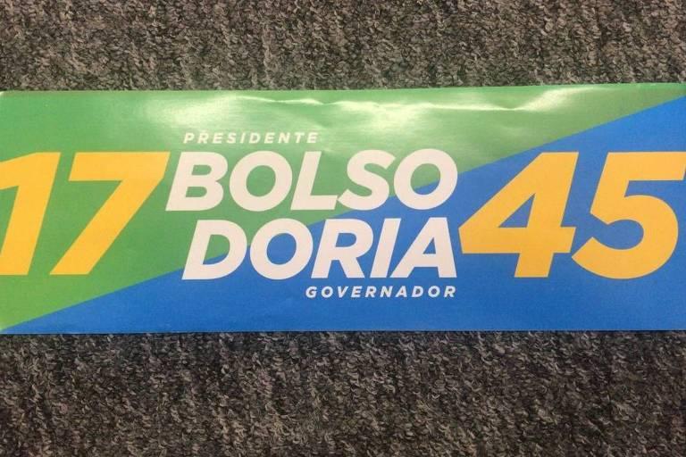 Adesivo de campanha de Doria apreendido prega voto 'Bolsodoria'
